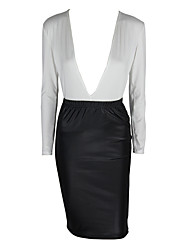 Women's Work Sexy / Sophisticated Black and White Dress,Solid V Neck Knee-length Long Sleeve White / Black Polyester Fall Mid Rise