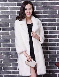 Women's Casual/Daily Simple Fur Coat,Solid Long Sleeve Spring / Fall White Faux Fur Medium