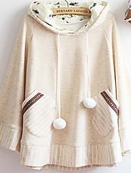Damen Solide / Gestreift Einfach Lässig/Alltäglich Mantel / Capes Langarm Mehrfarbig Baumwolle