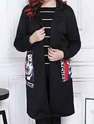 Women's Casual/Daily Simple Coat,Print Long Sleeve Black Polyester