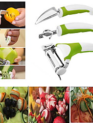 3Pcs Set Triple Slicer Fruit Sculpting Knife Vegetable Cuttur Kitchen Tools