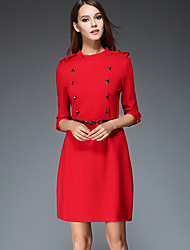 Women's Casual/Daily Vintage Shift Dress,Solid Stand Above Knee ¾ Sleeve Red / Black Polyester Fall Mid Rise Inelastic Medium