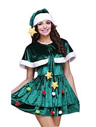 Fantasias de Cosplay Ternos de Papai Noel Festival/Celebração Trajes da Noite das Bruxas Verde Miscelânea Vestido / Mais Acessórios Natal