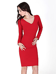 Women's Casual/Daily Sexy Bodycon Dress,Solid V Neck Knee-length Long Sleeve Red Cotton Fall Mid Rise Micro-elastic Medium