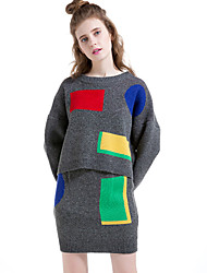 Women's Casual/Daily Simple Winter Skirt Suits,Color Block Round Neck Long Sleeve Gray Cotton / Polyester
