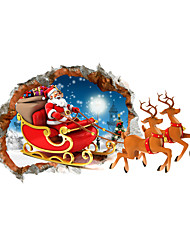 3D Merry Christmas Santa Claus Gift Hole PVC Material Decorative Skin Wall Stickers