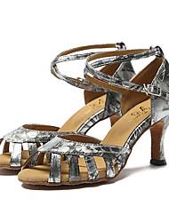 Non Customizable Women's Dance Shoes Leather Leather Latin / Jazz Sandals / Heels Stiletto Heel Professional / Indoor / PerformanceSilver