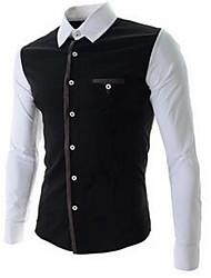 Men's Formal / Work Simple Shirt,Color Block Square Neck Long Sleeve White / Black Cotton Medium