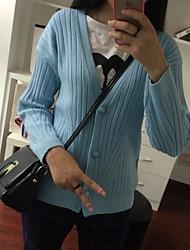 Женский Офис / Праздник Винтаж / Уличный стиль / Изысканный Обычный Кардиган Однотонный,Белый / Черный / Серый V-образный вырезДлинный
