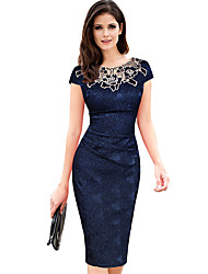 Women's Party Club Plus Size Vintage Simple Sheath Dress,Floral Patchwork Embroidered Round Neck Knee-length Short Sleeve PolyesterSpring