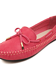 Women's Boat Shoes Spring Fall Winter Moccasin Fleece Office & Career Dress Casual Flat Heel Bowknot Braided Strap Black Purple Red Almond