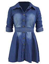 Women's Long Sleeves Jeans Shirt Flared Dress