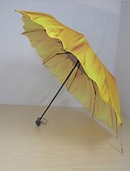 Amarelo Guarda-Chuva Dobrável Ensolarado e chuvoso Plastic Viagem