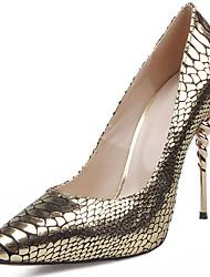 Feminino-Saltos-Conforto Sapatos clube-Salto Agulha-Dourado-Pele-Social Casual Festas & Noite