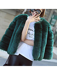 Women's Casual/Daily Simple Fur Coat,Solid Long Sleeve Red / Gray / Green Faux Fur