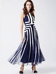 Courte Robe Femme Grandes Tailles Bohème,Rayé Col Arrondi Maxi Sans Manches Bleu Nylon Eté Taille Normale Non Elastique Moyen