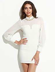Women's Going out Simple Bodycon Dress,Solid Round Neck Above Knee Long Sleeve White Silk / Polyester Spring Mid Rise