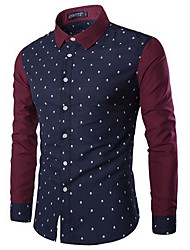 Men's Going out Simple Shirt,Color Block Square Neck Long Sleeve Blue / White Cotton
