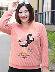 Long Hoodies Femme Grandes Tailles simple,Broderie Rose Col Arrondi Manches Longues Coton / Polyester Automne / Hiver Moyen