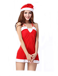 Cosplay Costumes Santa Suits / Nurse / Bunny Girls Movie Cosplay Red Solid Dress / Hat Christmas Female Polyester