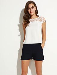 Damen Solide T-shirt - Polyester Kurzarm Rundhalsausschnitt