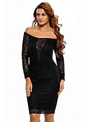 Women's Black Sheer Lace Long Sleeve Off Shoulder Party Dress