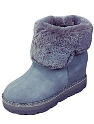 Women's Boots Winter Platform PU Fur Casual Wedge Heel Platform Black Gray Walking