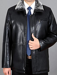 Men's Casual/Daily Simple Leather Jackets,Solid Stand Long Sleeve Winter Black Faux Fur Thick