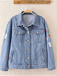 Women's Going out / Casual/Daily Simple / Cute Denim Jackets,Print Shirt Collar Long Sleeve Fall Blue Cotton Medium