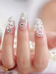 24pcs невесты накладные ногти мило пятно искусства ногтя кусок готовый продукт лак для ногтей серебряный цветок произведение искусства