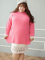 Damen Lang Pullover-Lässig/Alltäglich Übergröße Niedlich Solide Rosa Rundhalsausschnitt Langarm Baumwolle Winter Mittel Mikro-elastisch