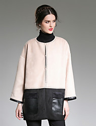 ZIYI Women's Casual/Daily Simple CoatSolid Stand Long Sleeve Fall / Winter White Polyester