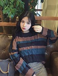 Damen Standard Pullover-Ausgehen Lässig/Alltäglich Retro Street Schick Anspruchsvoll Gestreift Blau Grün Rollkragen LangarmKunst-Pelz