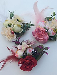 Wedding Flowers Roses Boutonnieres Wedding Party/ Evening Satin Leather