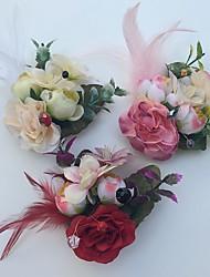 Fleurs de mariage Roses Boutonnières Mariage La Fête / soirée Satin Cuir