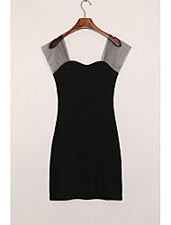 Women's Casual/Daily Sexy Sheath Dress,Solid Strapless Above Knee Short Sleeve White / Black Cotton Spring Mid Rise Stretchy Medium