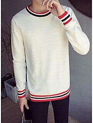 Men's Going out Vintage Regular Pullover,Check Round Neck Long Sleeve Polyester Winter Medium Micro-elastic