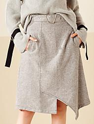 Feminino Saias-Evasê Cor ÚnicaSimples Cintura Média Casual Assimétrico Elasticidade Algodão Micro-Elástico Com Molas / Outono