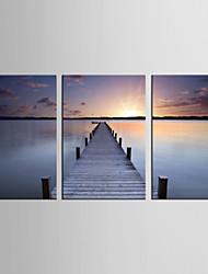 Холст Set Пейзаж / Отдых Modern / Реализм,3 панели Холст Вертикальная Печать Искусство Декор стены For Украшение дома