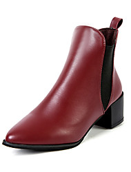 Women's Boots Spring / Fall / Winter Others Cowhide Outdoor / Office & Career / Party & Evening / Dress / Casual Flat Heel Chain Black