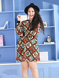 Nininiu  Women's Casual/Daily Simple Sweater DressPrint V Neck Above Knee Long Sleeve Orange Cotton / Acrylic Fall / Winter Mid Rise Micro-elastic