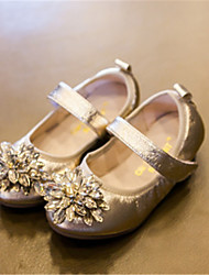 Girl's Flats Spring / Fall Comfort Leatherette Casual Flat Heel Flower Black / Silver / Dark Green Others