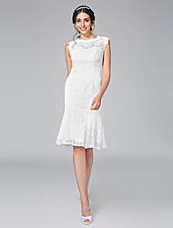 Lanting Bride® Fourreau / Colonne Robe de Mariage  - Chic & Moderne Petites Robes Blanches Mi-long Bijoux Dentelle avec Dentelle