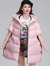 Women's Regular Down Coat,Simple Casual/Daily Solid-Polyester White Duck Down Long Sleeve Blue / Pink / Black / Green