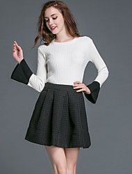 Women's Casual/Daily Simple Fall Skirt Suits,Solid Round Neck Long Sleeve White Polyester