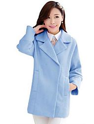 Manteau Femme,Couleur Pleine Sortie / Décontracté / Quotidien simple / Mignon / Chinoiserie Manches Longues Col en V Bleu / Rose / Orange