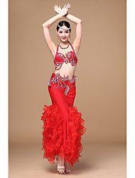 Belly Dance Outfits Women's Performance Polyester Ruched Crystals/Rhinestones 3 Pieces Sleeveless Dropped Skirt Bra Hip Scarf