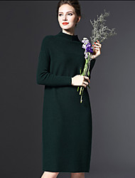 Women's Work / Sports Cute / Chinoiserie Sweater Dress,Solid Stand Knee-length Long Sleeve Black Cotton / Polyester All Seasons Mid Rise