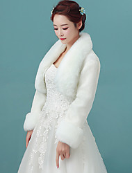 Women's Wrap Shrugs Faux Fur Long Sleeve Wedding / Party/Evening /  Casual Winter Solid Thick White