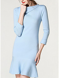 Women's Going out / Casual/Daily Simple / Cute Trumpet/Mermaid Dress,Solid Round Neck Midi Long Sleeve Blue Cotton Fall / Winter Mid Rise